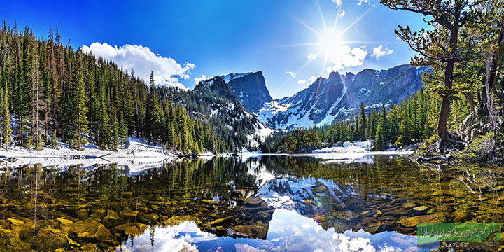 Scenic Landscape of forest, lake and snow in America
